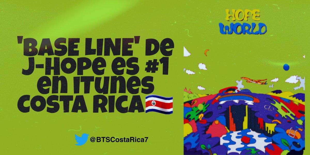 📊iTunes Costa Rica🇨🇷  'Base Line' de #JHOPE es #1 en iTunes.  ¡Gracias a CR-ARMY por su increíble trabajo hoy!💜  @BTS_twt