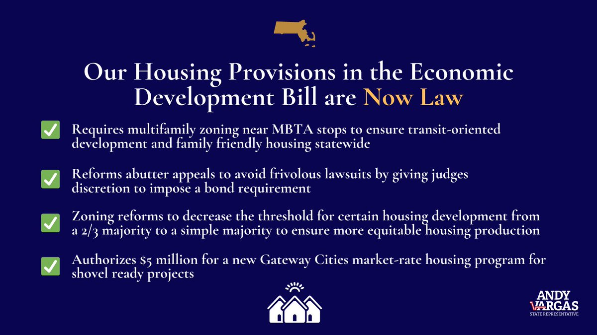 It's official! Our housing legislation is now law. Governor Baker signed the economic development bill tonight. Shout out to my partner and friend @RepKevinHonan!   This bill promises more housing supply & more equitable production across the state.  #mapoli https://t.co/Tqgrgv3xCe