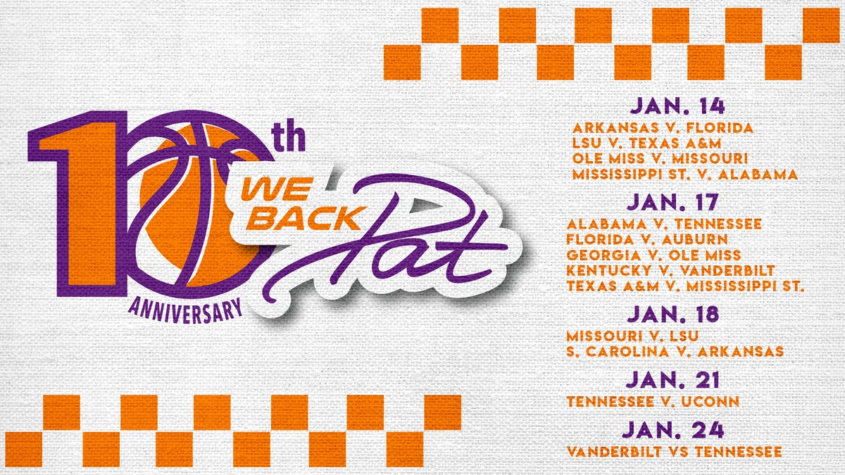 Replying to @SEC: Full slate for the 10th Anniversary of #WeBackPat Week 💜  Tips off tonight on @SECNetwork!