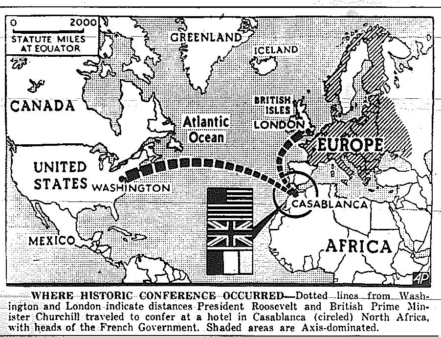 For the first time ever, an American President has flown in a plane while on official business, to dodge German U-boats in the Atlantic; it took a 4-day plane ride (with stopovers) to take Roosevelt to Casablanca. https://t.co/lxK2uACqzg