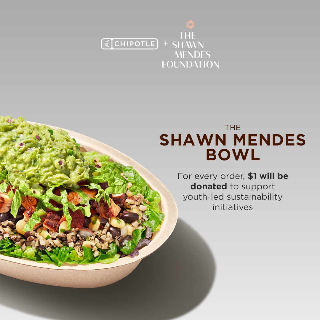 We're partnering with @ChipotleTweets to launch Wonder Grants for young innovators in sustainability & also 'The Shawn Mendes Bowl' with cauliflower rice, a new plant-based option. Order online until 1/28 & $1 will be donated to support young changemakers