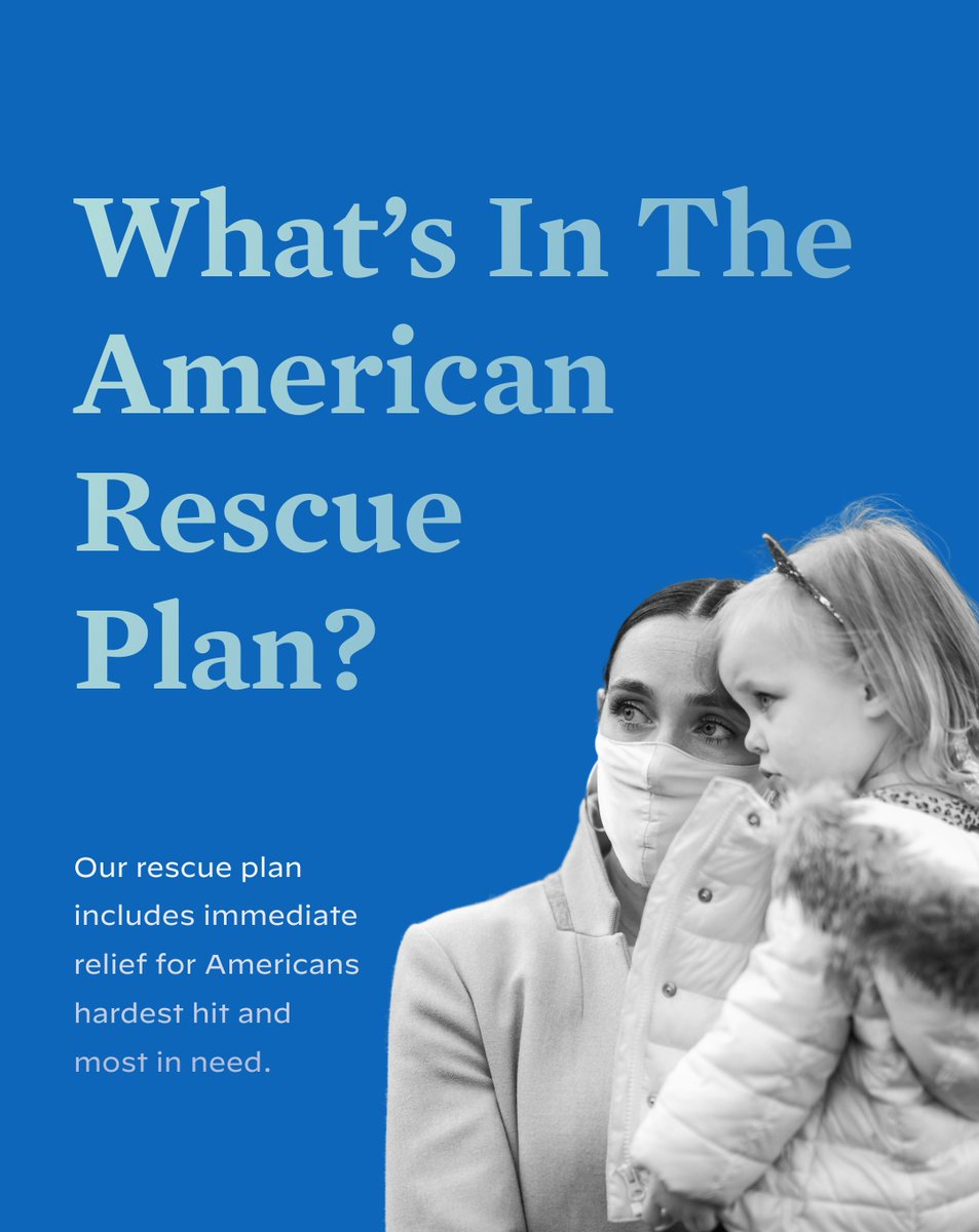 The President-elect's American Rescue Plan will: - Ramp up a national vaccine program - Safely reopen majority of K-8 schools in his first 100 days - Deliver immediate, direct relief to working families  - Support hardest-hit communities & small businesses