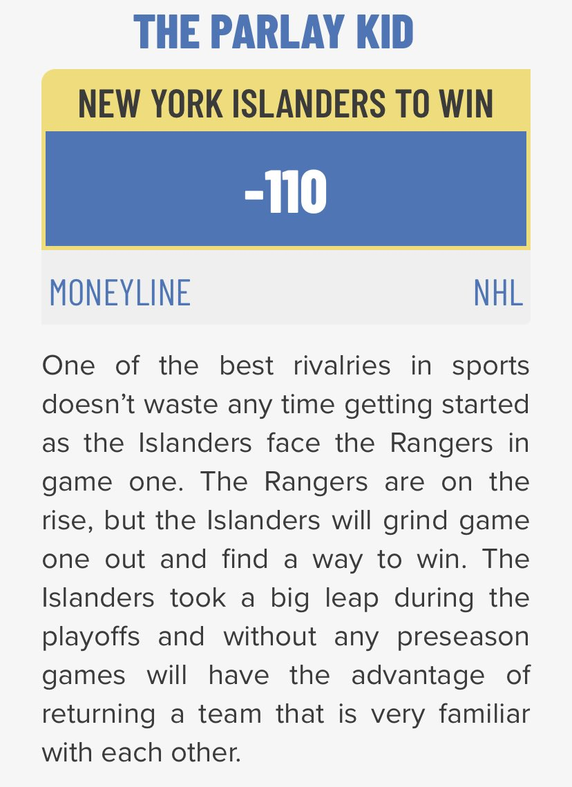 This rivalry is going to be off the charts this year! Lets go Islanders!! @ExtraPointsPod