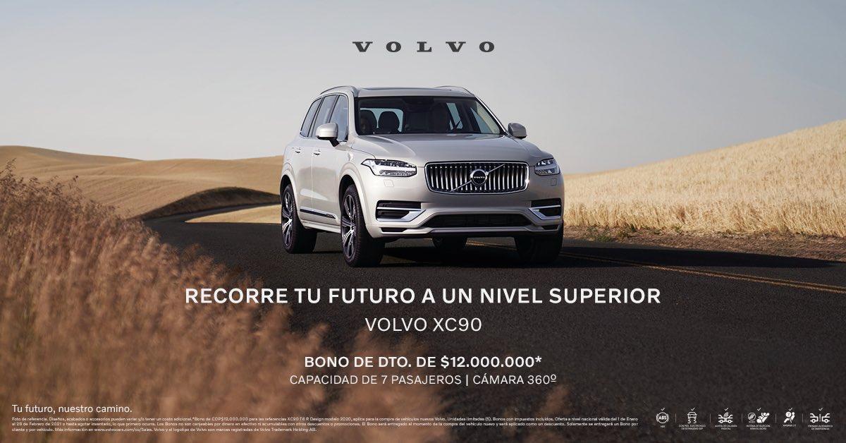 Experimenta el nivel superior en diseño sueco y tecnología con el Volvo XC90. Visita nuestras vitrinas y cómpralo con un bono de dto. de $12.000.000*.