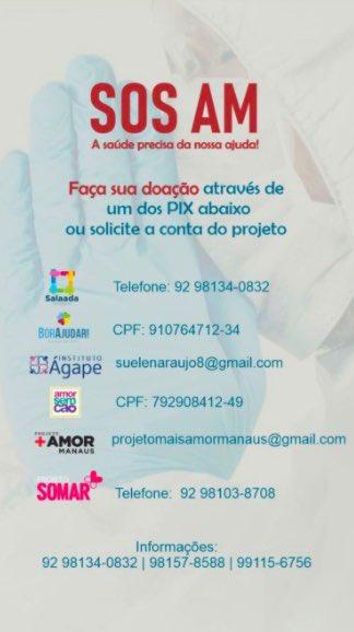 Gente, os hospitais de Manaus estão em situação caótica por falta de oxigênio.   Acabamos de doar pro projeto social Salaada Solidária. As doações vão atender a 3 unidades hospitalares.  Contribuam também. Se não puderem, compartilhem formas de ajudar e PRESSIONEM  #SOSMANAUS