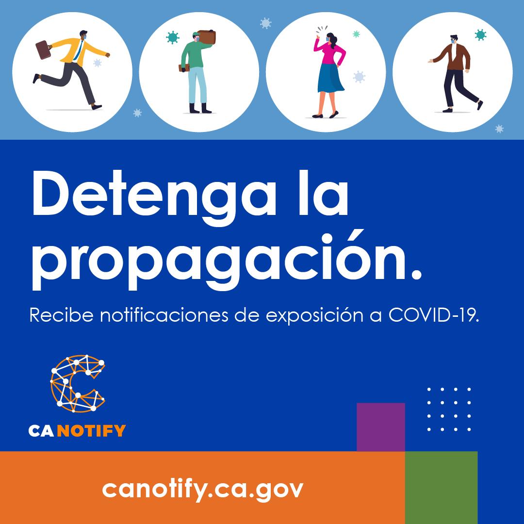 Puedes detener la propagación de la infección dejando que #CANotify haga todo el trabajo. CA Notify es una capa adicional de protección para ti y tu comunidad.   #MaskUpSMC #PóngaseLaMascarillaSMC