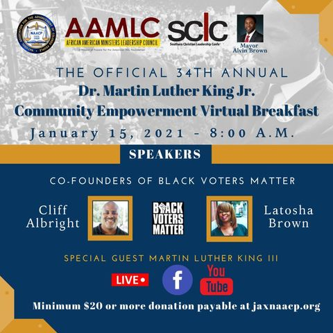 Join @cliff_notes and @MsLaToshaBrown, Co-Founders of Black Voters Matter for the 34th Annual Dr. Martin Luther King Jr. Community Empowerment Virtual Breakfast! #BlackVotersMatter