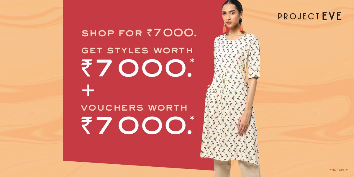 Here's something exciting to give a great start to the new year! Shop your favourite looks at flat 50% off at your nearest Project Eve store. Shop for Rs. 7000 and get styles worth Rs. 7000 plus vouchers worth Rs. 7000.  #MyProjectEve #Offer #Sale #EOSS #IndianWear