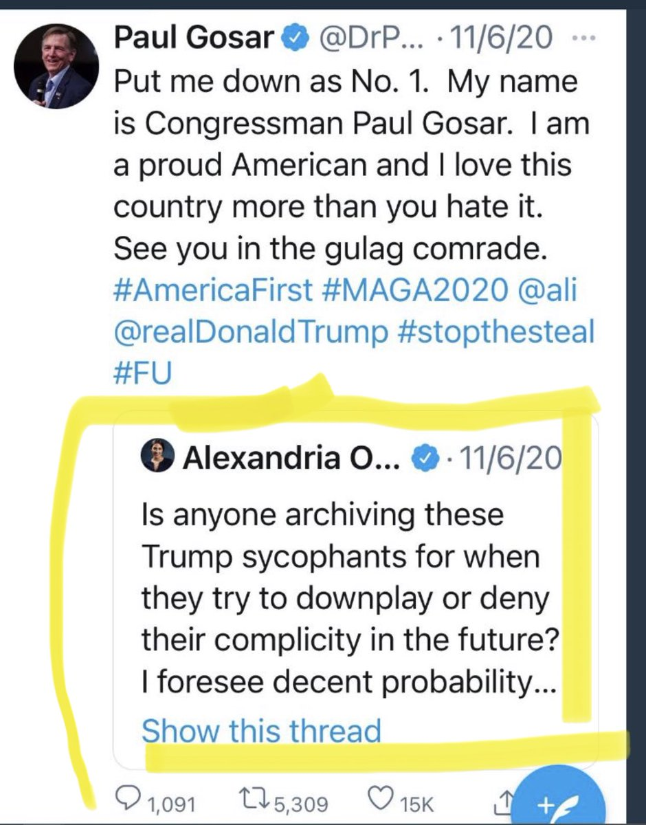 🔥A month before the Capitol Insurrection @AOC reply's to @DrPaulGosar's tweet asking if anyone is archiving these tweets for when the co conspirators try to deny their involvement....