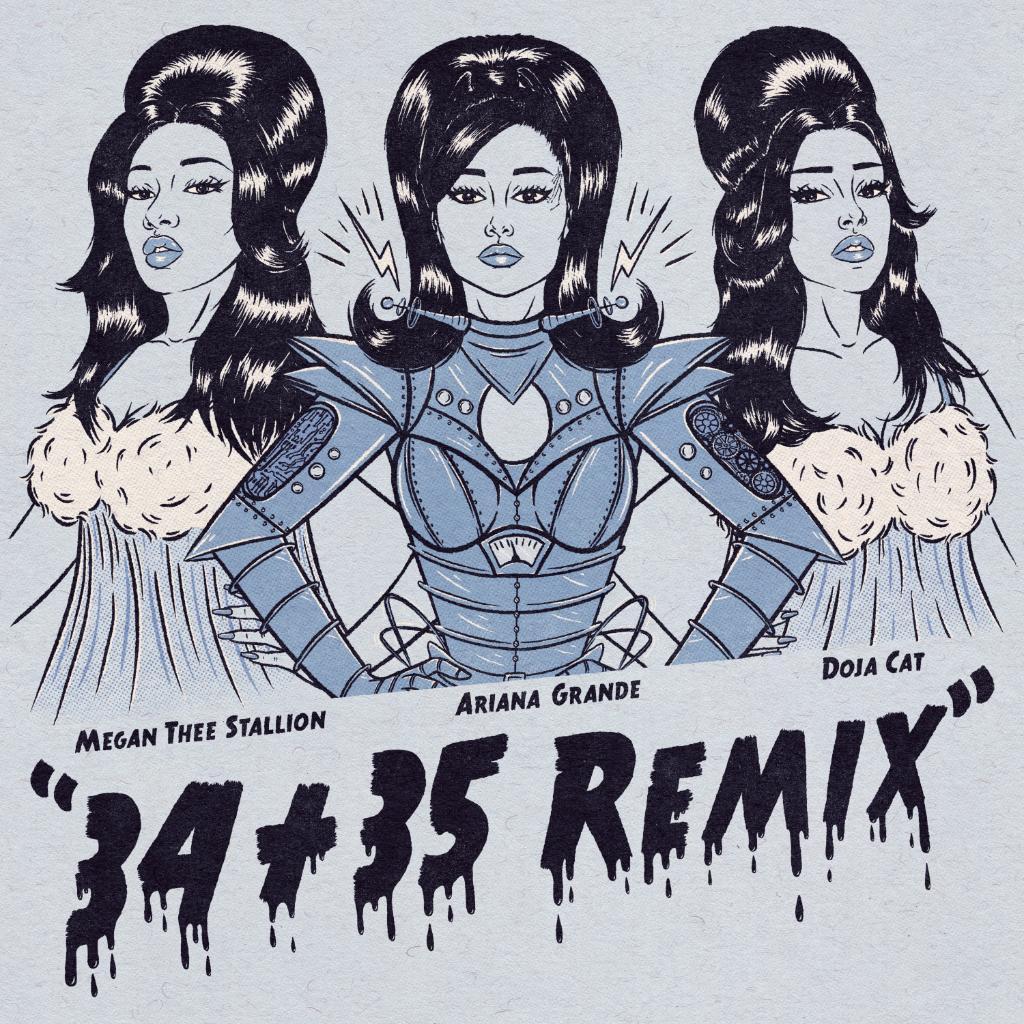 Replying to @AppleMusic: #3435Remix 🥺🤍💧  @ArianaGrande  @DojaCat @theestallion   Listen: