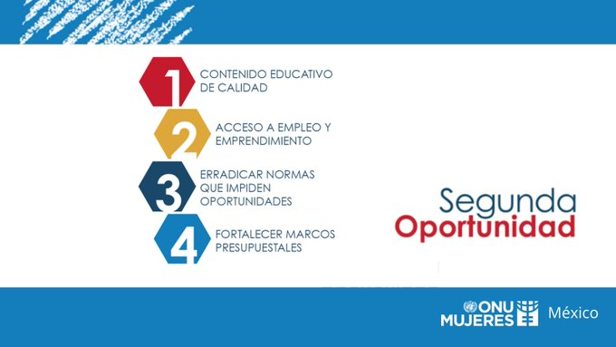 El programa #SegundaOportunidad de ONU Mujeres se basa en cuatro objetivos principales: