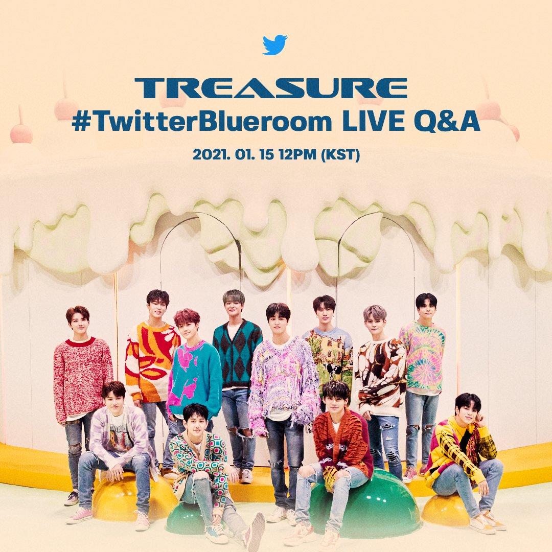 💎드디어 오늘💎 2시간 앞으로 다가온 #TwitterBlueroom LIVE Q&A with #TREASURE 오늘 낮 12시 (KST) #트레저 의 공식 트위터 계정 @treasuremembers 에서 함께 해주세요!💎  #Ask_TREASURE #TwitterBlueroom LIVE Q&A with #TREASURE