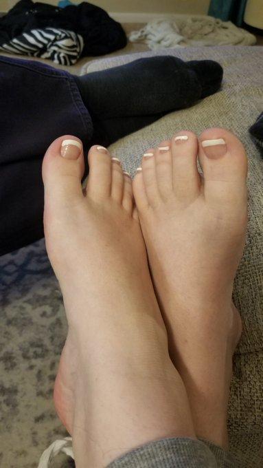 2 pic. Got my mani/pedi! She hurt my thumb, but I love the nails. I feel like myself again. 😊  If anyone