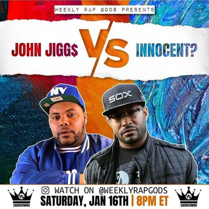 This Sat Jan 16 8p Weekly Rap Gods Presents @undrcrwnd 👑 a #VERZUZ for the underground hip hop culture 🔥🔥 I'll be going head to head wit @innocentflow13 and you know I ain't comin to play wit em 🤷🏾♂️ May the best man win 🥊🥊