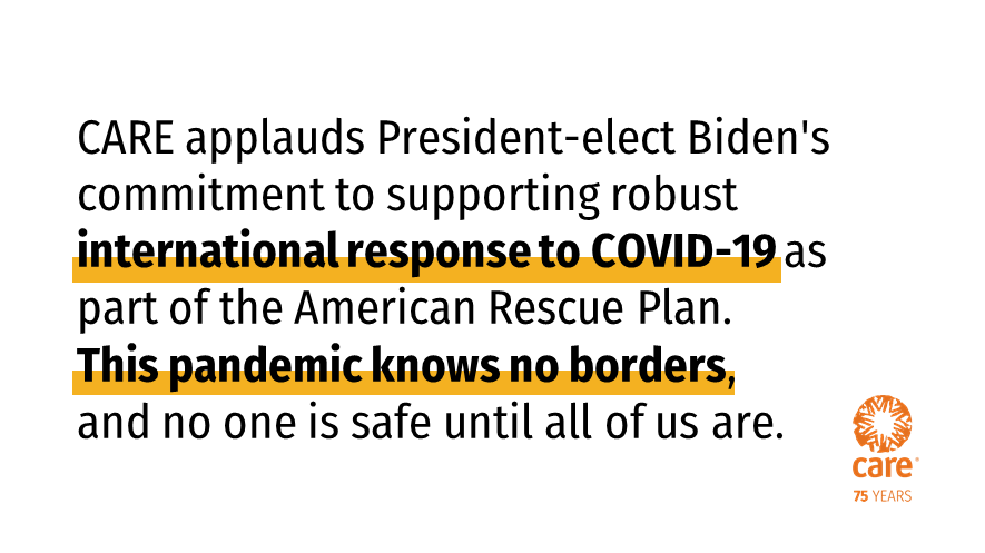No one is safe until everyone is safe. We applaud President-elect Biden's commitment to supporting robust international response to #COVID19 as part of the American Rescue Plan. ➡️