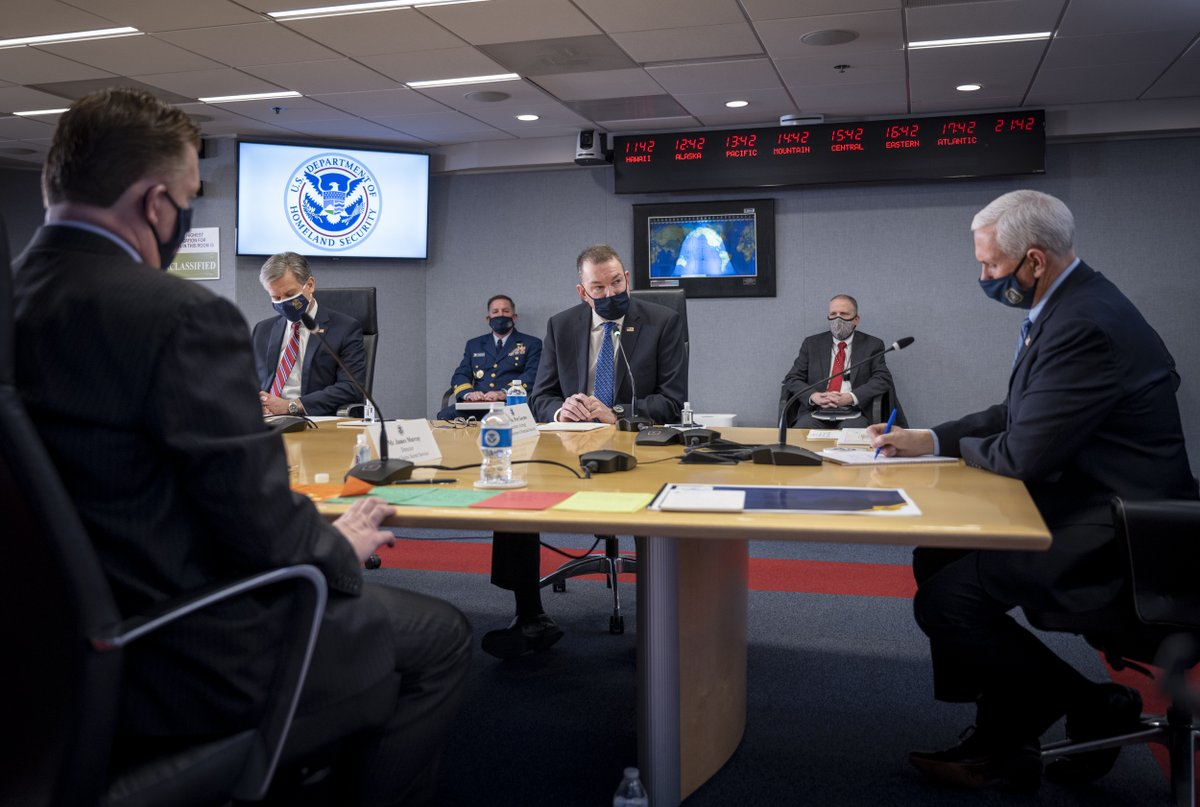 Today Acting Secretary Gaynor briefed @VP Pence on #DHS preparations to secure the upcoming #InaugurationCeremony. He was joined by leaders from the @FBI, @SecretService, @FEMA, and @USNationalGuard to discuss this collaborative effort. (1/2)