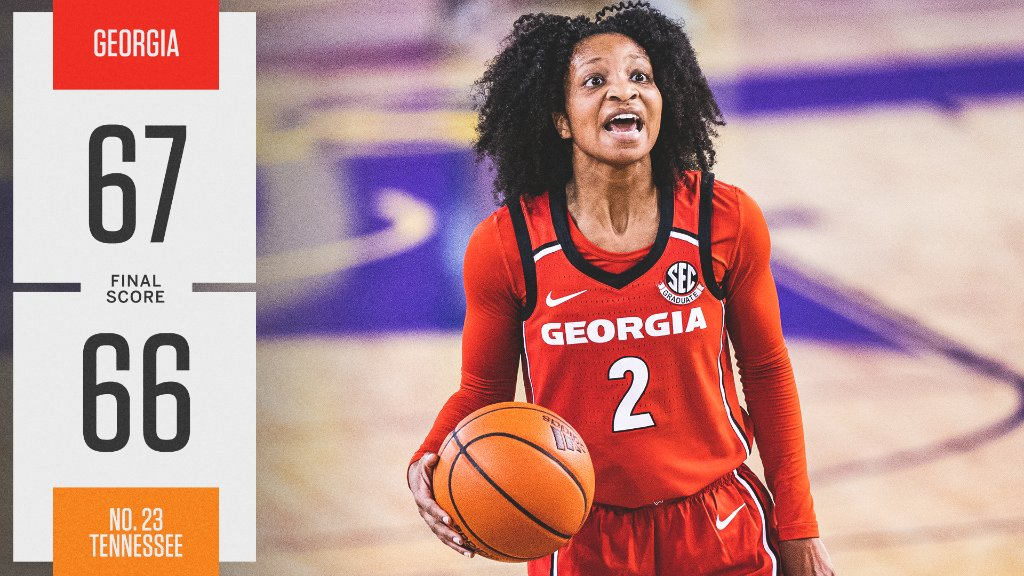 DAWGS ON TOP 🐶  @UGA_WBB makes the comeback and gets its first win on Rocky Top since 1996!