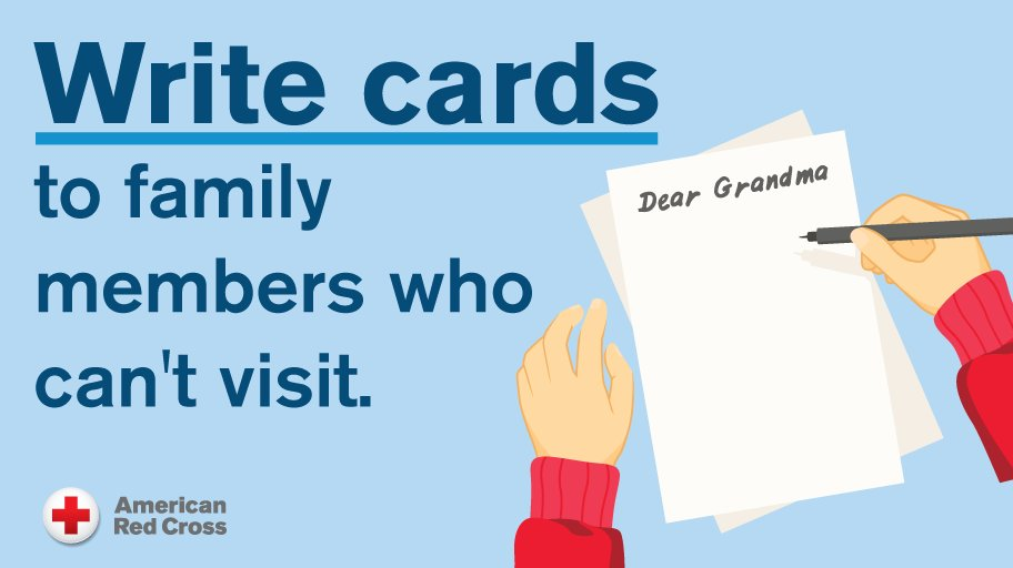 Keep kids socially connected during #COVID19 by writing cards to loved ones and video chatting with family.