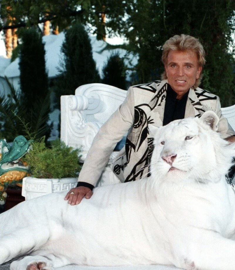 It's the end of an era in Las Vegas today as we say goodby to Siegfried Fischbacher of the iconic #SeigfriedAndRoy duo. Celebrating his legacy which forever changed show biz and Vegas.🐯 #seigfried #lasvegas #vegas #themirage #whitetiger #iconic #dynamicduo