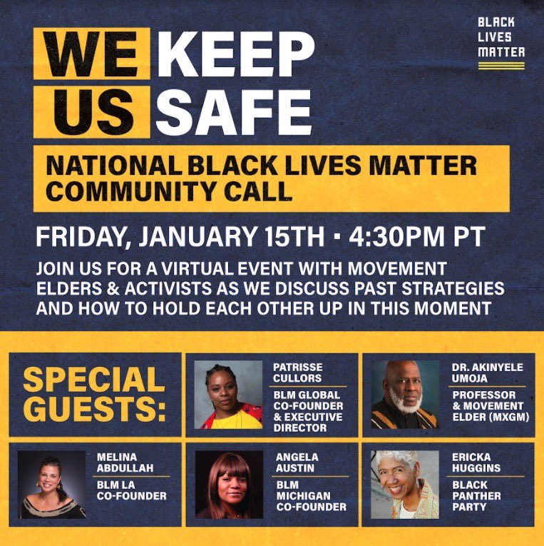 Text BLM to 24365 to get deets on our event tomorrow to hear straight from our movement elders & BLM leaders about how we keep us safe, where we go from here, & our community's demands + plans to end white supremacy once and for all. PERIOD ✊🏾