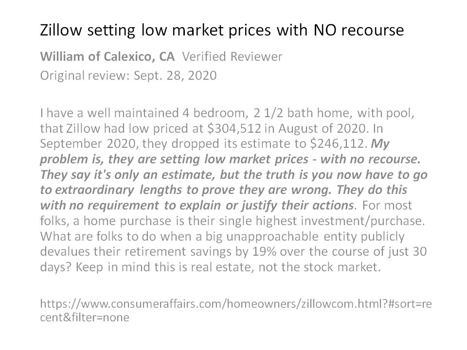 "Another @ConsumerAffairs Review accusing @Zillow of ""setting low market prices with no recourse. $ZG say its only an estimate, but truth is you now have to go to extraordinary lengths to prove they are wrong"". Time $Z is Regulated with a #DoNotZestimate OPT OUT. Secret Service"
