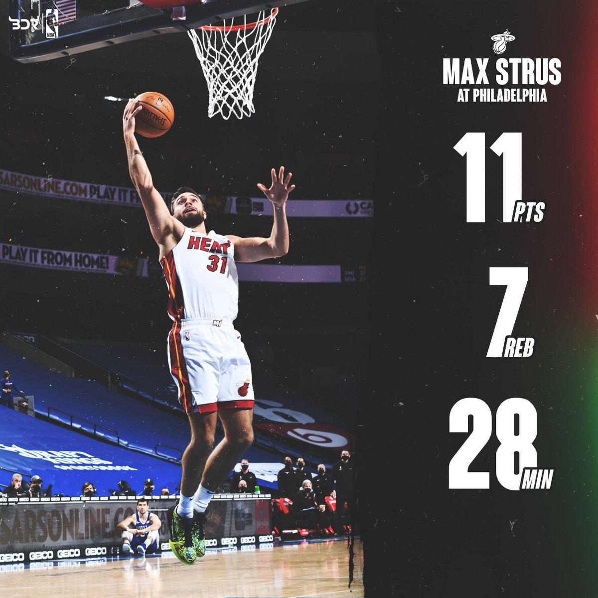 Former Blue Demon Max Strus put up career high numbers is points, minutes, and rebounds tonight. He finished the game with 11 points 7 rebounds 1 assist, and 1 steal in 28 minutes,   #HeatNation #playingpossessed #HEATTwitter