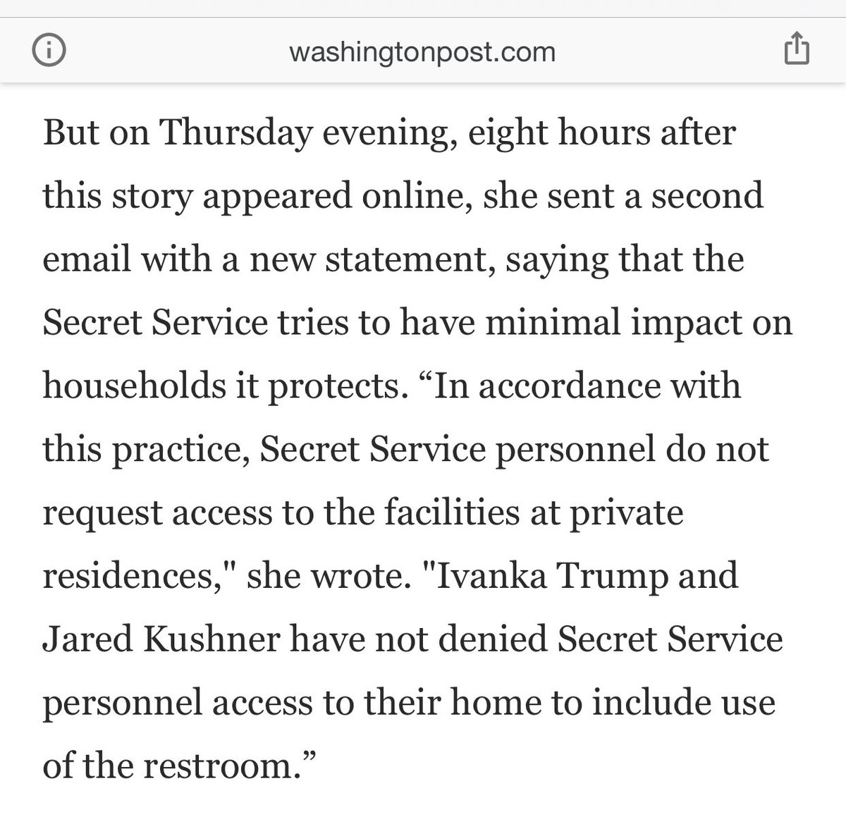 The @washingtonpost story about Jared and Ivanka today was a lie. The story never made sense, and was simply not true. Now the Secret Service has even denied the story. Please read the below.