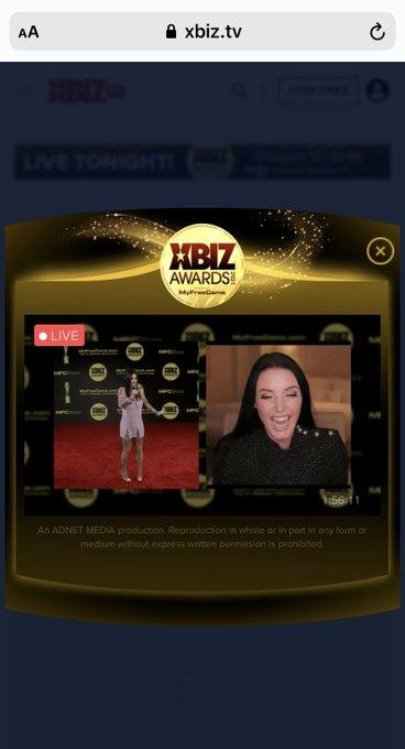 Live now! On @XBIZ watch the whole awards show live! Virtual ! I just saw some boobs😉❤️https://t.co/f0MYYFLsjE