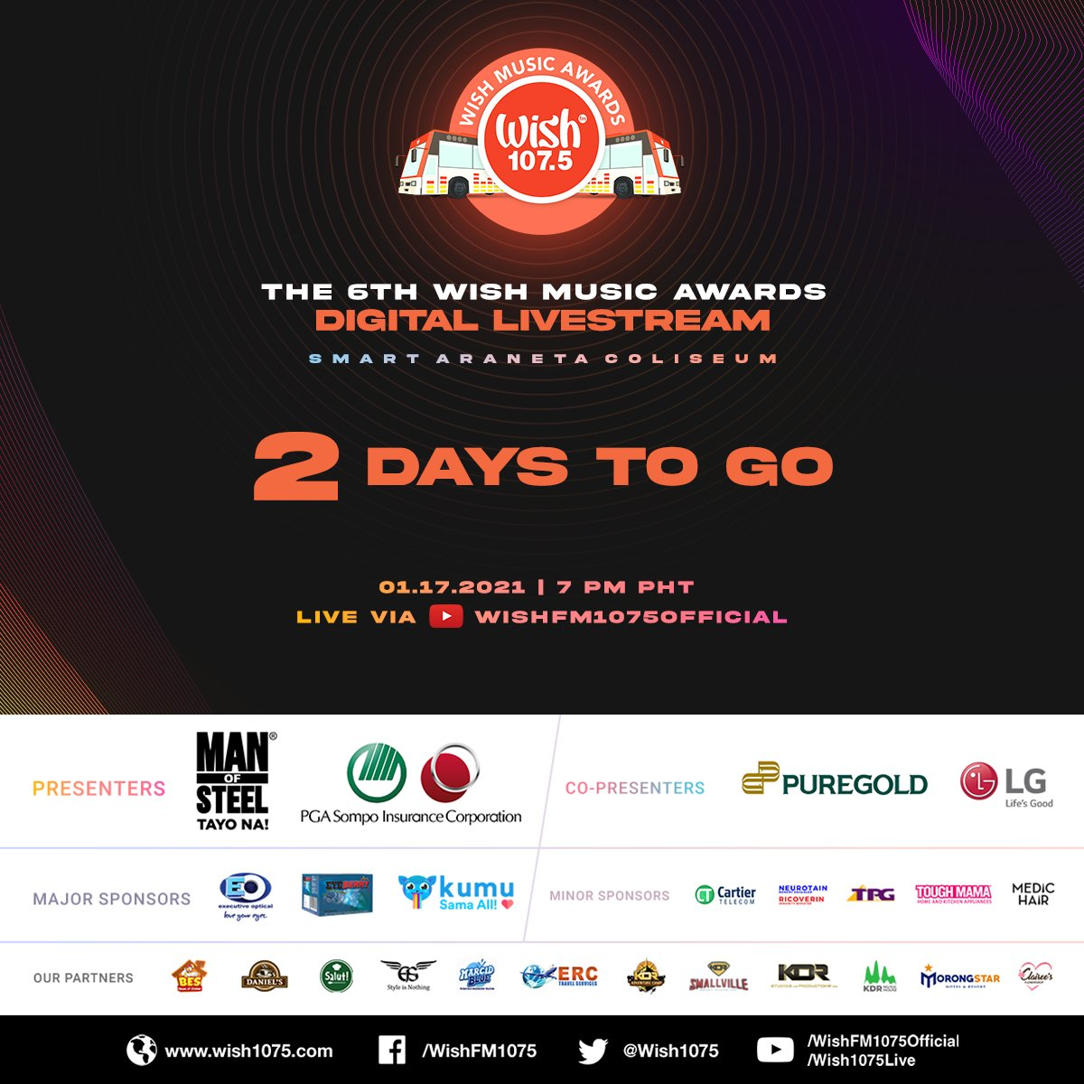 We're down to 2 days 'til the much-awaited @wish1075 Music Awards! 🤩  Don't forget to save this link: ! See you virtually 💙 #TheBigDome