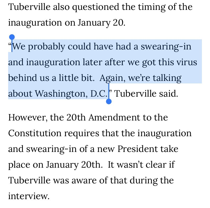 "A newly elected U.S. senator proposed delaying Biden's inauguration until ""after we got this virus behind us a little bit.""  First problem is the Constitution. Second problem is we're ... not really close to that?"
