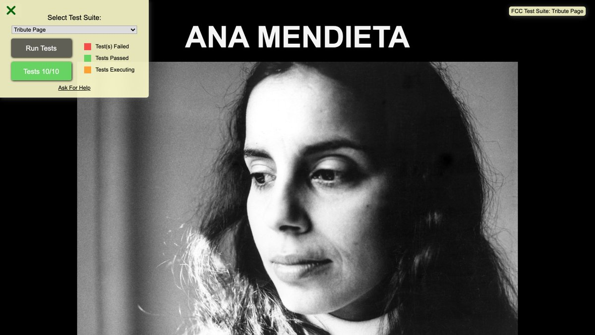 "#Day21 of my #100DaysOfCode! Started working on project 1/5 of the #freeCodeCamp ""Responsive Web Design Certification"" - a #TributePage to honor Cuban-American artist #AnaMendieta -  #JustForFun #WomenWhoCode #HTML #CSS #FeelingAccomplished"