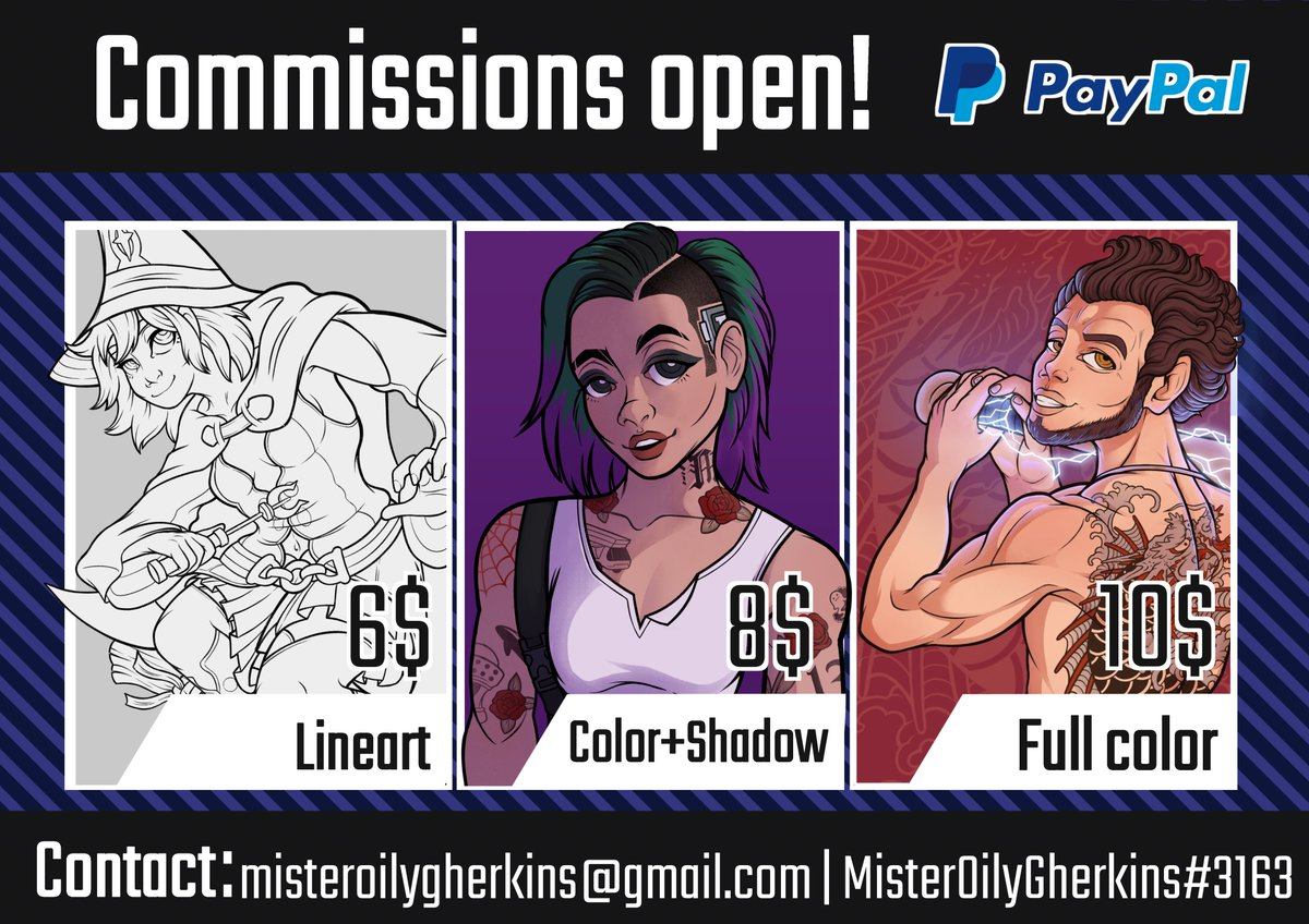 Commissions open! Well, finally I could open commissions, a retweet is always appreciated!