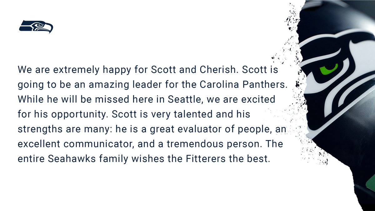 Replying to @seahawksPR: Statement from @Seahawks Executive VP/General Manager John Schneider: