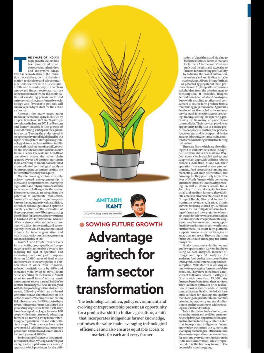 Agriculture is the next frontier where young  entrepreneurship, transformative technology, dynamic startups and favourable policies are driving a paradigm shift in the entire value chain.  Read my Edit piece in Financial Express today.