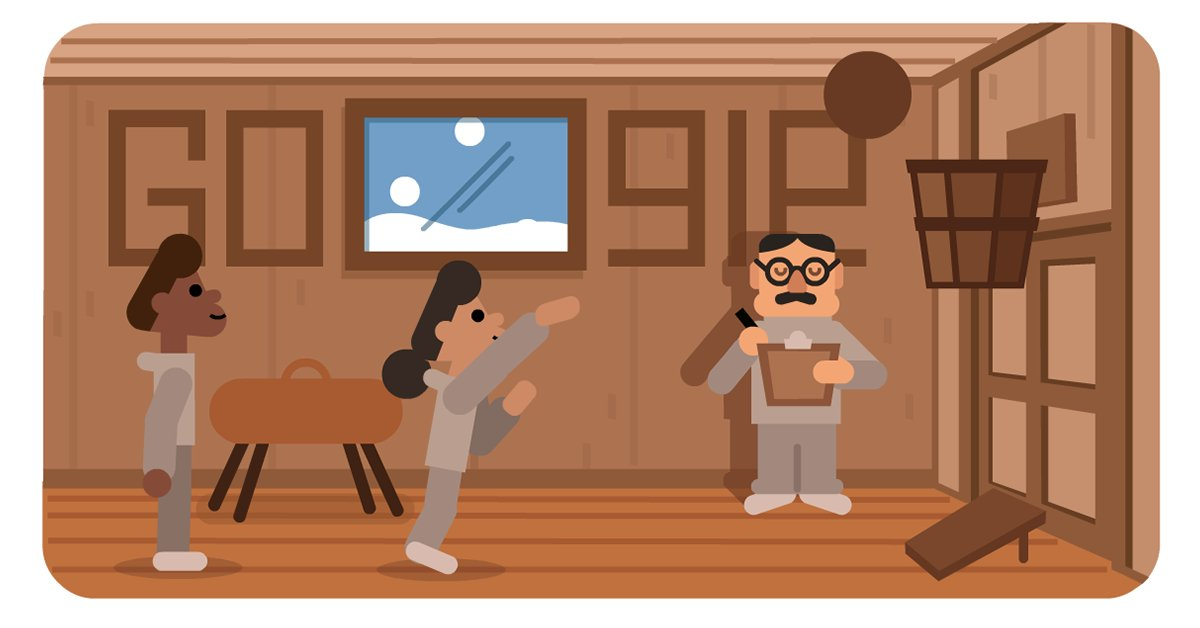 Today's #GoogleDoodle celebrates James Naismith, who invented the game of basketball 🏀 when tasked with devising an indoor game during the harsh New England winters.  Today, the popularity of the sport has grown by leaps and (re)bounds across the 🌎  ➡️