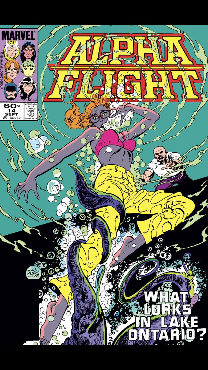 #comicbeforebed Alpha Flight No. 14, September, 1984. Something in the water, a reflection reveals, and a proposal. 🌊🪞💍 #AlphaFlight #MarvelComics #MarvelUnlimited #digitalcomics #FeeltheByrne @marvel @MarvelUnlimited