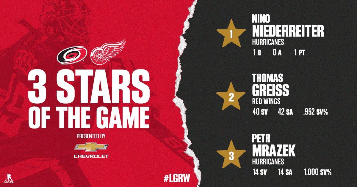 Replying to @DetroitRedWings: Thomas Greiss picks up tonight's 2nd Star. #CARvsDET