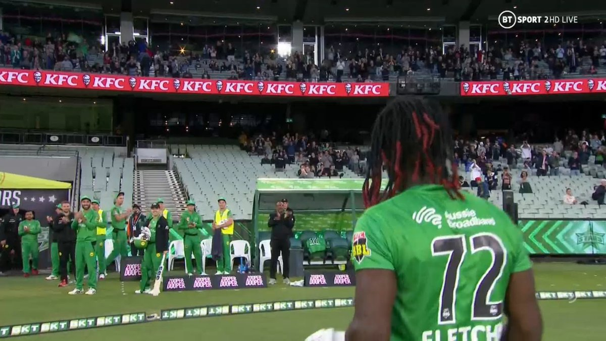 BIG BASH LEAGUE Melbourne Stars vs Adelaide Strikers  Emotional scenes, as the Spiceman (André Fletcher) is given a hug after his 89 not out finish, after 49 deliveries.  Image Credits: BT Sport https://t.co/lJwQ9VxGuK