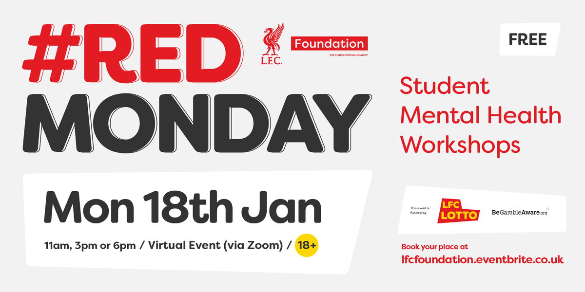 The team at @LFCFoundation is hosting a free virtual mental health workshop for students this Monday.  The sessions will help tackle issues of isolation, loneliness and wellbeing.  Sign up for one of the sessions at   #RedMonday
