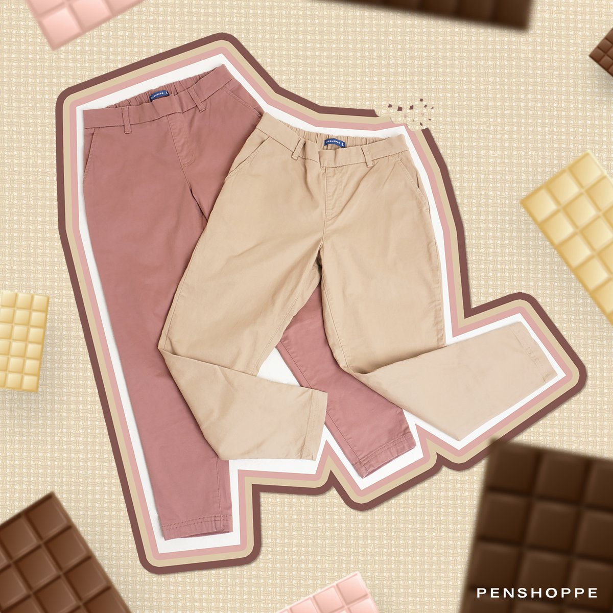 Trousers that are as sweet as chocolates: coming right up! 🍫  Pull-On Trousers P799  Get them here:   Also available in Shopee, Lazada, and Zalora.