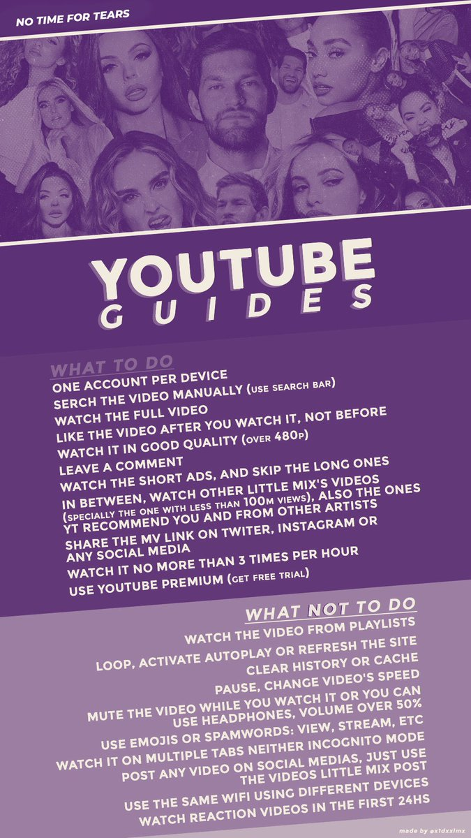Make sure to follow this guide below on how to stream the music video correctly on YouTube! This is still Little Mix's song so we need to stream it mixers!   NO TIME FOR TEARS MUSIC VIDEO   @LittleMix @NathanDawe