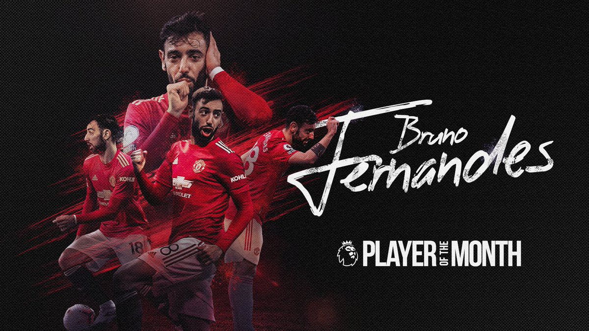 𝗕𝗔𝗖𝗞-𝗧𝗢-𝗕𝗔𝗖𝗞 🤩  @B_Fernandes8 is the #PL Player of the Month 𝘢𝘨𝘢𝘪𝘯 👏👏👏  #MUFC