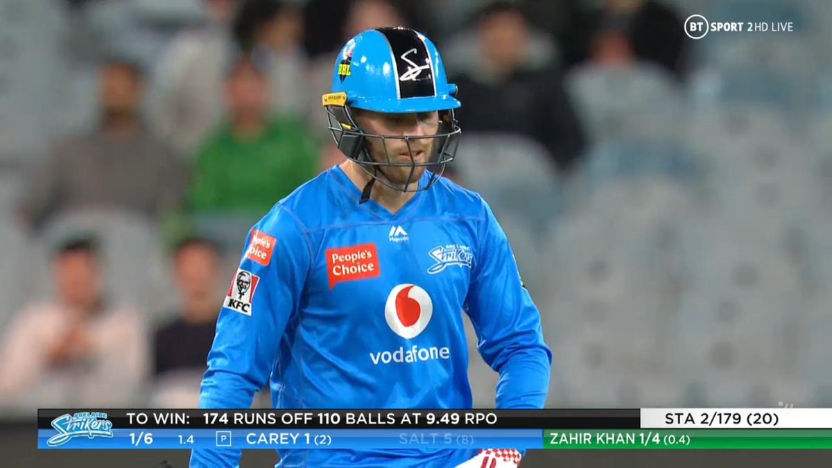 BIG BASH LEAGUE Melbourne Stars vs Adelaide Strikers  WICKET Philip Salt (5 runs scored) c Gotch b Zahir Khan  FALL OF WICKET ADE 6 - 1 1.4 overs  Image Credits: BT Sport https://t.co/oUv1GGyiW1
