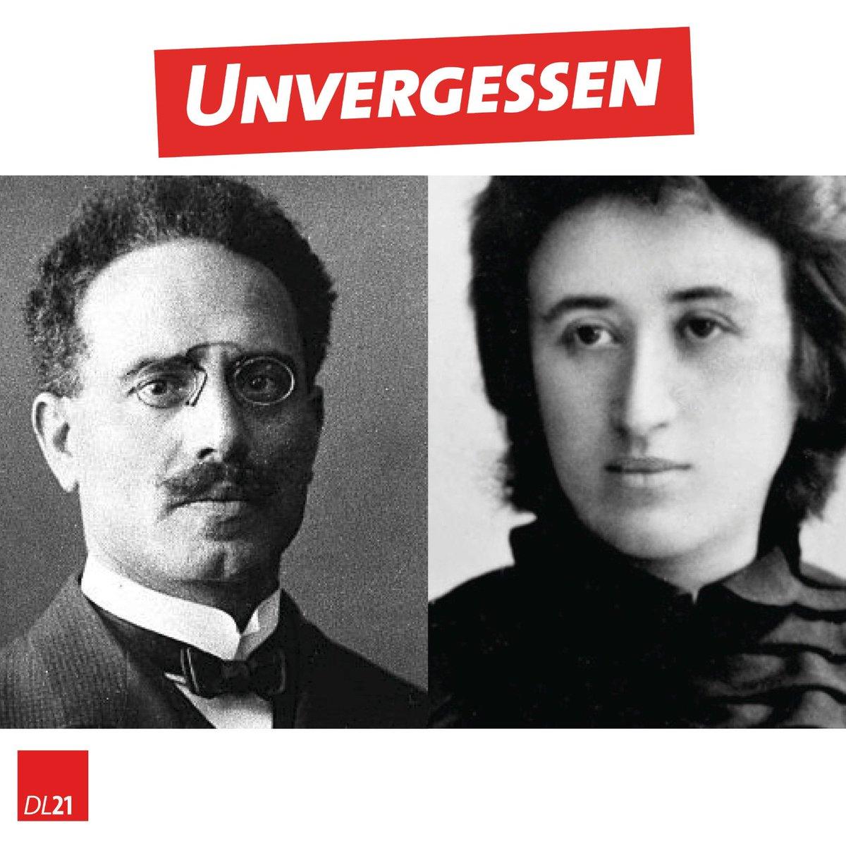 Heute vor 102 Jahren wurde Rosa #Luxemburg und Karl #Liebknecht von rechten Freikorps mit Billigung einzelner SPDler feige ermordet. In diesen schwierigen Zeiten würde Rosa uns wohl raten optimistisch und kämpferisch in die Zukunft zu schauen - trotz alledem. #Unvergessen