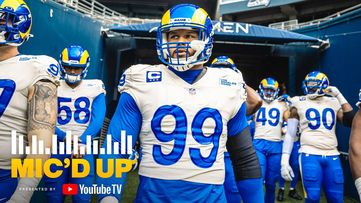 "Replying to @RamsNFL: ""Let's send them home."" 👋  @YouTubeTV Mic'd up: @AaronDonald97 in his two-sack performance!"