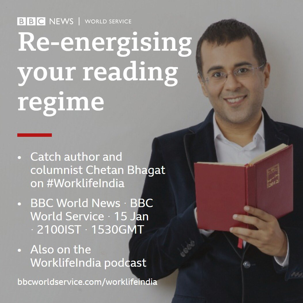 Hi guys, check out my interview on @BBCWorld tonight at 9pm on #WorkLifeIndia where we talk about reading habits and more!