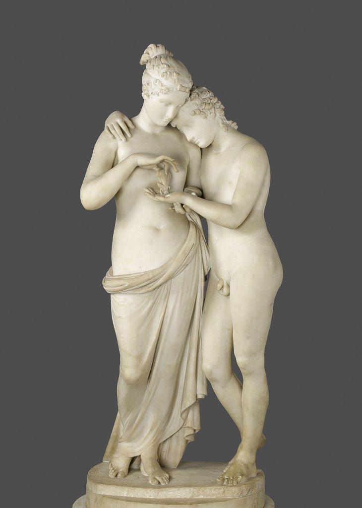 [#UnJourUneOeuvre] Le thème de L'Amour et Psyché est largement développé pendant la période néoclassique. Canova en a décliné de nombreuses versions notamment en terre, mais aussi de très beaux groupes en marbre. ☛   #Sculptures