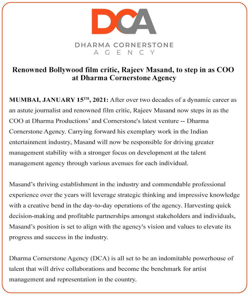 Congrats @RajeevMasand My best wishes for your new endeavour with @DharmaMovies Stay blessed. ❣🧿🥂