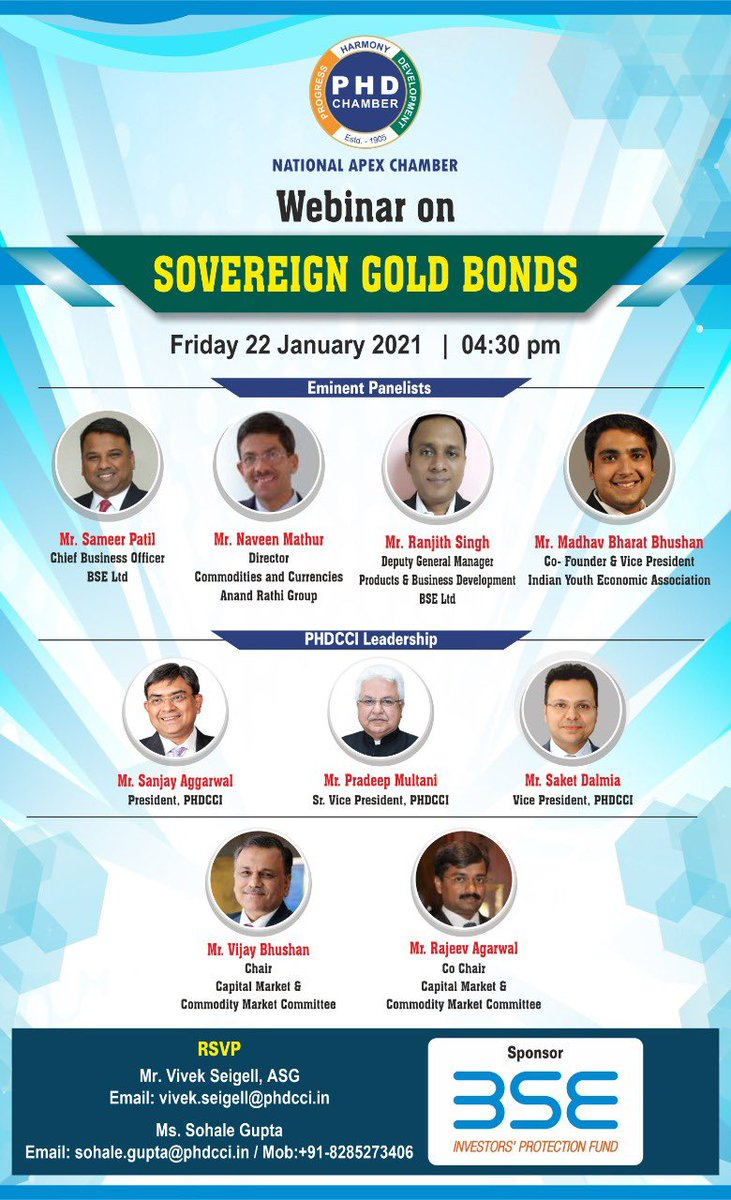 Happy to share that I'll be talking about Sovereign Gold Bonds at an upcoming webinar organized PHD Chamber of Commerce and Industry.  Please find below the Webex link to register for the same:    @phdchamber  #webinar  #finance  #investment #gold #bonds