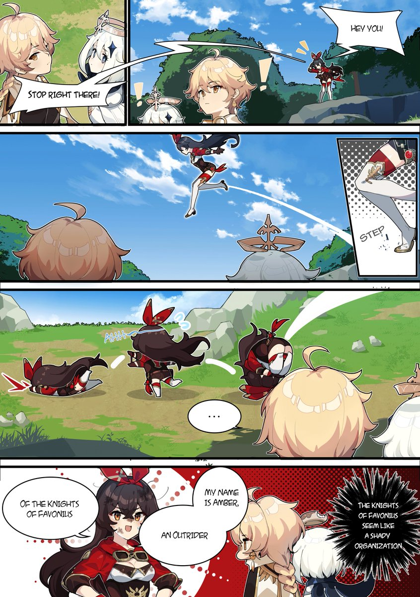 Genshin Impact 4-Panel Comics | Part 5 First Meeting With Amber Hey you, stop right there! #GenshinImpact